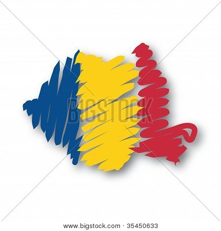 flag map Romania