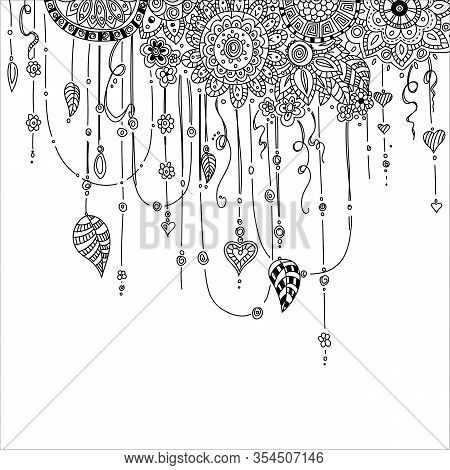 Hand Drawing Ethnic Mandala Ornament In Ethnic Oriental Style. Decorative Vintage Elements For Yoga,