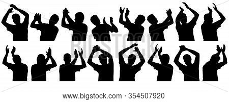 Set Of Silhouettes Of Man. Clapping Hand, Waving Hands, Applauding Man. Vector Illustration.