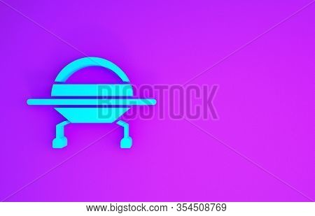 Blue Ufo Flying Spaceship Icon Isolated On Purple Background. Flying Saucer. Alien Space Ship. Futur