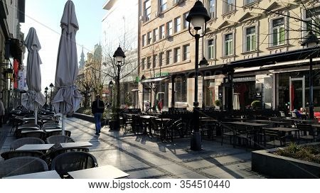 Belgrade, Serbia - January 24, 2020: Morning Street In The City Center. People Rush About Their Busi