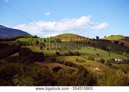 Panorama Of The Mountains Around Campli, Abruzzo, Italy. Monti Gemelli (twin Mountains) Belongd To G