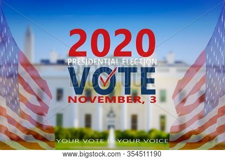 2020 United States Of America Presidential Election Banner. Election Banner Vote 2020 With American