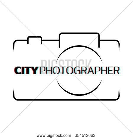Logo For City Photographer. Camera Silhouette With Place For Inscription. Vector Illustration