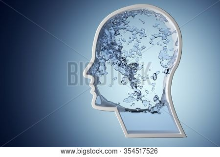 Human Head Shape Filled With Blue Water On Blue Gradient Background - Hydration, Healthy Lifestyle O