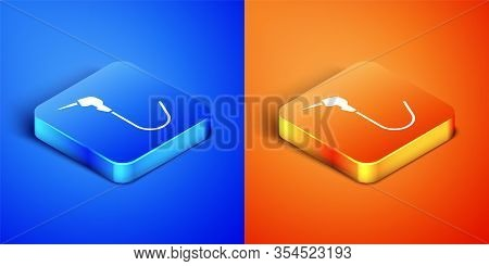 Isometric Gasoline Pump Nozzle Icon Isolated On Blue And Orange Background. Fuel Pump Petrol Station