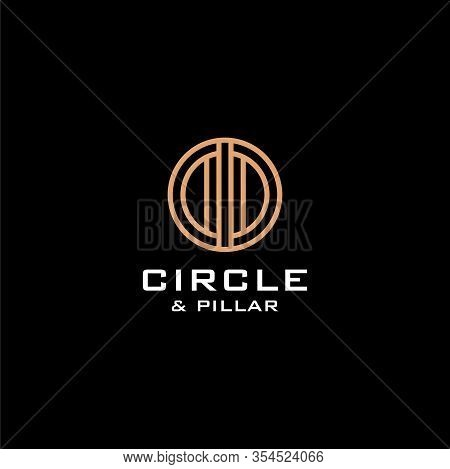Simple Logo Design Of Letter C And Pillar With Dark Background - Eps10 - Vector.