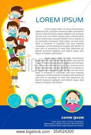 Children Wear A Medical Face Mask With Copy Space.boy And Girl Wear Medical Mask.virus Covid-19  And