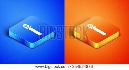 Isometric Magic Staff Icon Isolated On Blue And Orange Background. Magic Wand, Scepter, Stick, Rod.