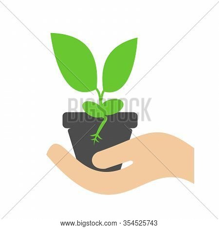 A Pot With A Plant In Hand. Vector Icon Showing Plant Growth.