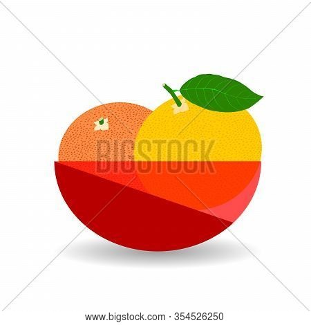 Grapefruits In A Red Transparent Bowl. Vector Graphic Illustration With Shadow.