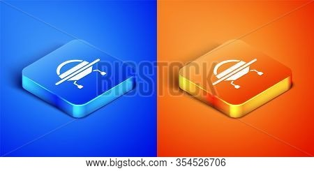 Isometric Ufo Flying Spaceship Icon Isolated On Blue And Orange Background. Flying Saucer. Alien Spa