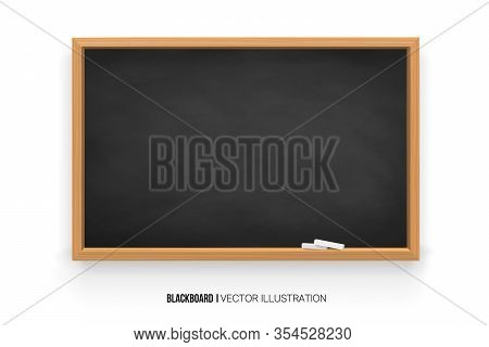 Chalkboard 3d. Realistic Black Blackboard In Wooden Frame Isolated On White Background.chalk On A Bl