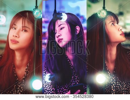 Portrait Of A Woman On Bright Bokeh Light On Chair Decoration In Outdoor Festive Market In Lush Lava