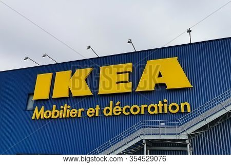 Bordeaux, France, March 07, 2020 : Logo Sign Of Ikea Swedish Store That Designs And Sells Furniture,