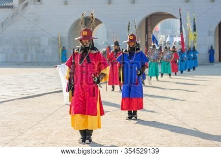 Seoul, South Korea - December 31, 2018: Royal Guard Changing Ceremony At Gyeongbokgung Palace. Gyeon