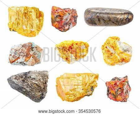 Set Of Various Ores Of Arsenic (arsenopyrite, Orpiment, Realgar, Scorodite) Isolated On White Backgr