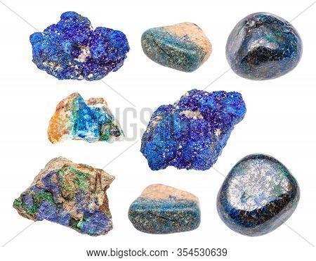 Various Azurite (chessylite) Gemstones Isolated On White Background