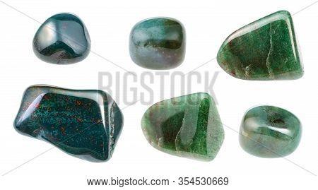 Set Of Various Bloodstone (heliotrope) Gemstones Isolated On White Background