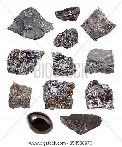 Set Of Various Coal (bituminous Coal, Black Coal, Lignite, Brown Coal, Shungite Shale, Coal Shale, A