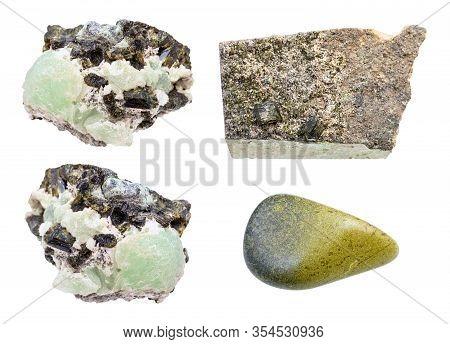 Set Of Various Epidote Gemstones Isolated On White Background