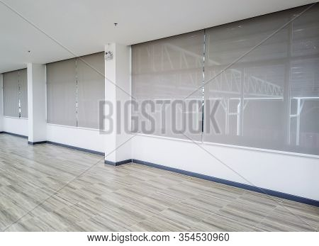Roll Blinds On The Windows, The Sun Does Not Penetrate The House. Window In The Interior Roller Blin