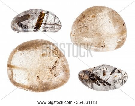 Set Of Various Hairworm Quartz (rutilated And Tourmaline Quartz) Stones Isolated On White Background