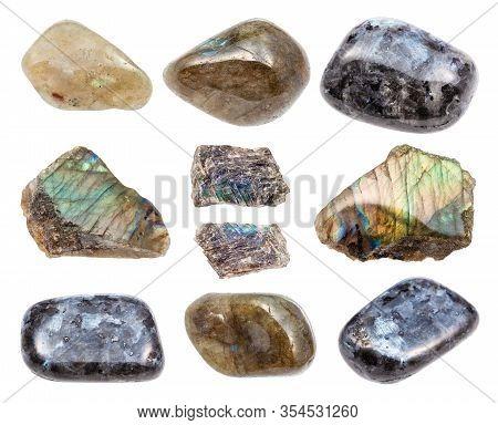 Set Of Various Labradorite Gemstones Isolated On White Background