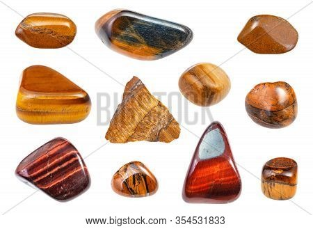 Set Of Various Tiger's Eye Gemstones Isolated