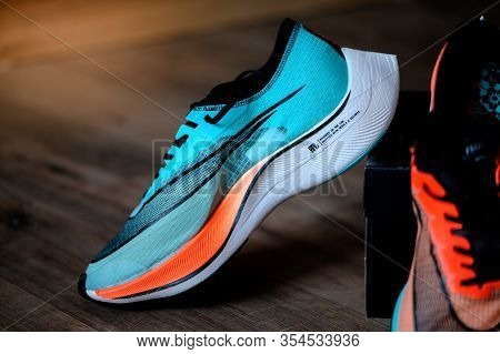 Bangkok, Thailand, March 7. 2020: Nike Running Shoes Vaporfly Next%. Controversial Athletics Maratho