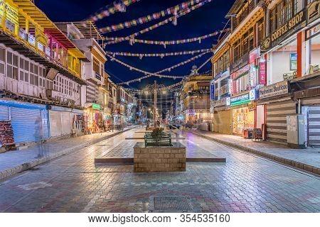 Leh, Ladakh, India - April 15, 2019: Main Bazar Street In Leh City, Ladakh. This Is The Local Market