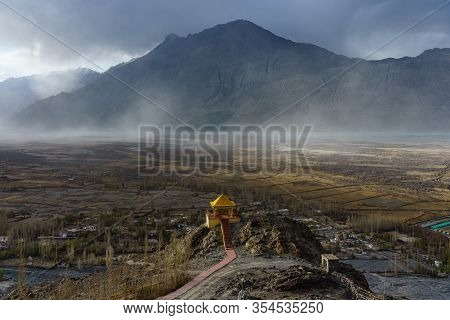 Landscape From Diskit Monastery. Diskit Monastery Also Known As Deskit Gompa Or Diskit Gompa Is The