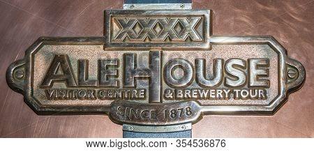 Brisbane, Australia - December 8, 2009: Castlemaine Perkins Brewery. Closeup Of Brass Sign On Copper