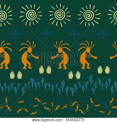 Authentic Australian Fashion Vector Ethnic Tribal Motifs Seamless Pattern. Folk Design With Gecko, K