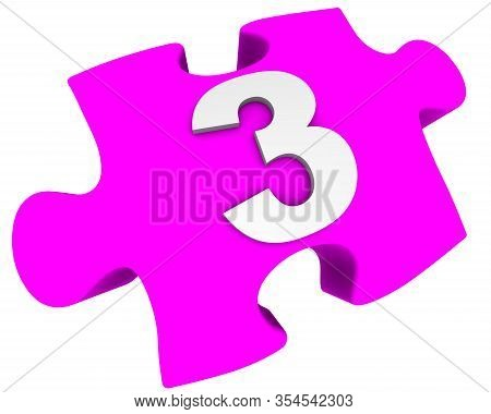 The Number Three. Puzzle Element. The White Number 3 (three) On A Pink Puzzle Element. Isolated. 3d