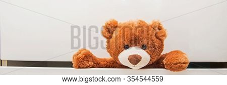 Brown Plush Toy Teddy Bear Crawling Out Of Chest Of White Drawers. Banner, Copy Space.