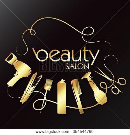 Golden Beauty Salon With Hair Care Tool