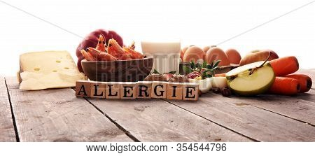 Allergy Food Concept. Allergy Food As Almonds, Milk, Cheese, Strawberry, Eggs, Peanuts And .crustace