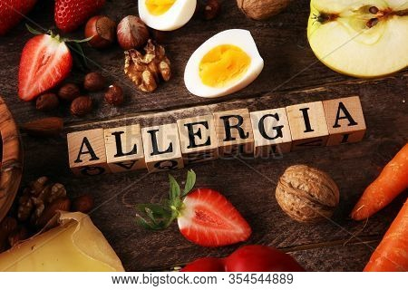 Allergy Food Concept. Allergy Food As Almonds, Milk, Cheese, Strawberry, Eggs, Peanuts And  Crustace