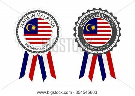 Two Modern Vector Made In Malaysia Labels Isolated On White Background, Simple Stickers In Malaysian