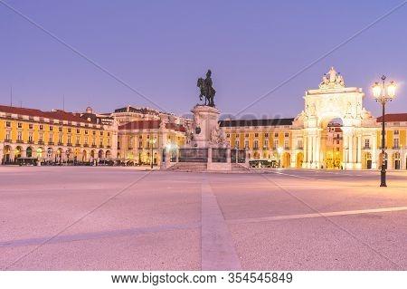 Praça Do Comercio, Blue Hour Lissabon, Portugal. 23 Februari 2020