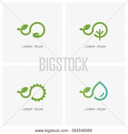 Green Sprout Logo Set. Seed, Tree, Gear Wheel, Drop Of Water And Plant Or Shoot With Leaves Symbol -