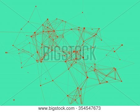 Trendy Line Art Icon With Red Dots And Line On Green Background. Decorative Backdrop. Business Conce