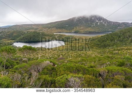 Serene Picturesque Moutnain Landscape With Amazing Eucalyptus Forest And Two Lakes. Epic Mountain, V