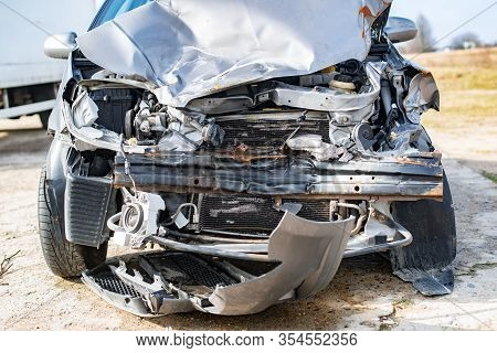 Auto After Road Accident, Head-on Collision Of Cars, Accident On The Road. Traffic Safety Concept. W