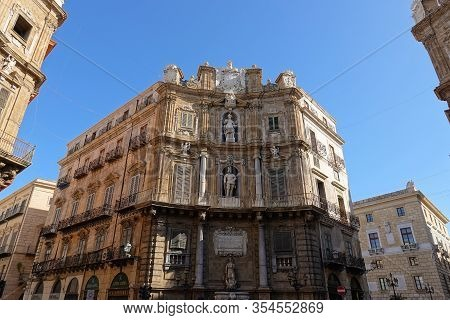 Palermo, Sicily - February 8, 2020: Quattro Canti Town Square In Palermo As A Big Crossroad With Per