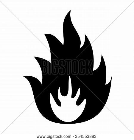 A Warning Flammable Symbol On White Background