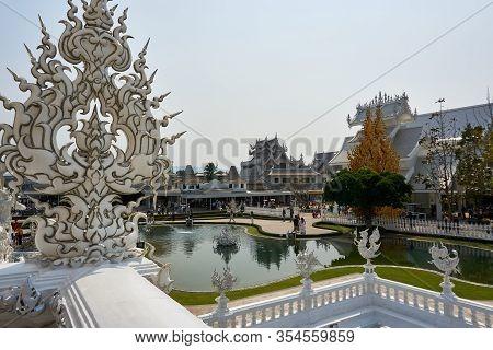 Chiang Rai, Thailand - February.10.2020: White Temple Rong Khun Temple, Chiang Rai Province, Thailan