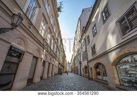 Prague, Czechia - October 31, 2019:  V Kotcich, A Narrow Street With Medieval Buildings And Cobblest