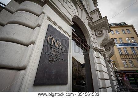 Brno, Czechia - November 5, 2019: Ceska Narodni Banka Cnb Logo In Front Of Their Office For Brno. Cn